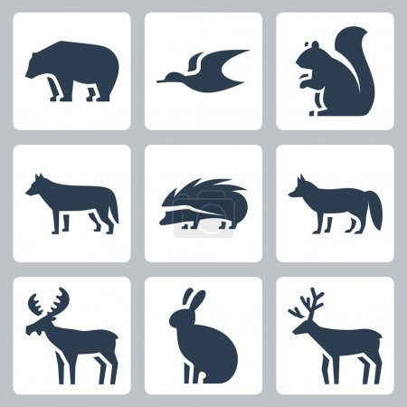 Illustration for Vector forest animals icons set - Royalty Free Image