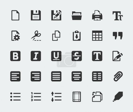 Illustration for Vector text editor mini icons set - Royalty Free Image