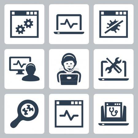Illustration pour Ensemble d'icônes de ligne d'aide informatique - image libre de droit