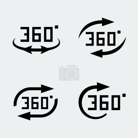 Illustration for '360 degree rotation' concept icons set - Royalty Free Image