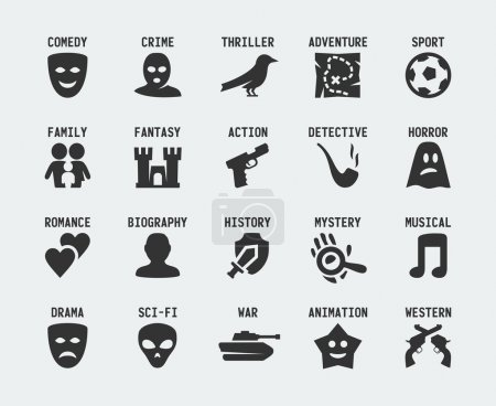 Illustration for Film genres  icon set - Royalty Free Image