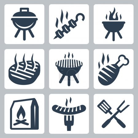 Illustration for Grill and barbeque related icons set - Royalty Free Image