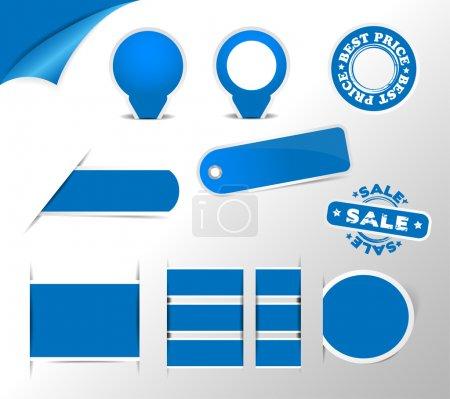 Ilustración de Azul colección de etiquetas, etiquetas, pegatinas, elemento de diseño - Imagen libre de derechos