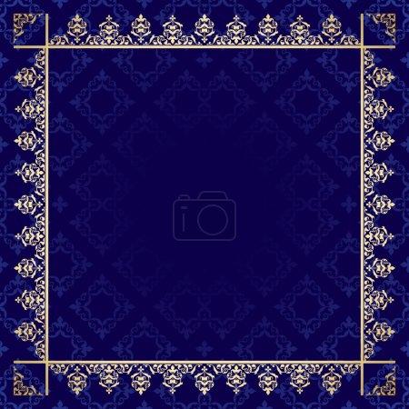 dark blue background with ornamental frame - vector