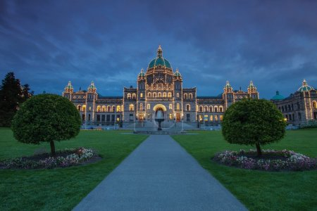 Evening view of Government house in Victoria BC