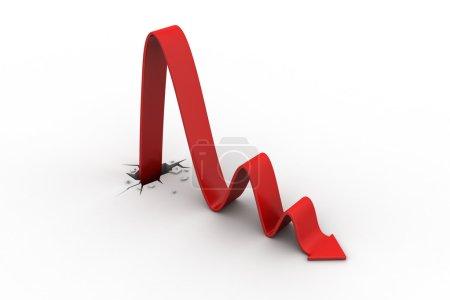 Photo pour Percée vers la perte en tant que graphique financier - image libre de droit