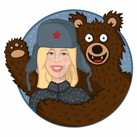 Illustration for Russian blonde in hat hugging a brown bear in the snow - Royalty Free Image