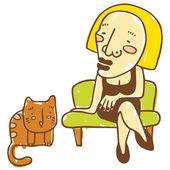 Lady on the couch and the cat