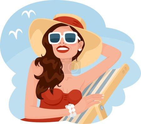 Illustration pour Belle fille en tenue d'été illustration souriante - image libre de droit