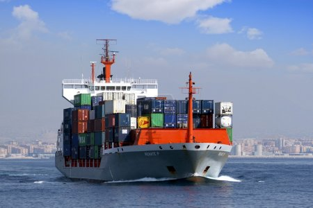 Container ship sailing
