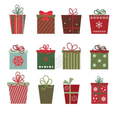 Illustration pour Un site de douze cadeaux de Noël sur fond blanc - image libre de droit