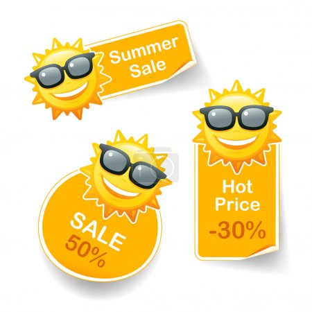 Illustration for Smiling sun sunglasses discount pricetags vector illustration - Royalty Free Image