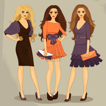 Illustration pour Sexy doux fashion girls set vectoriel illustration - image libre de droit