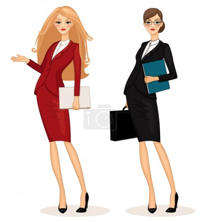 Illustration for Successful business woman set vector illustration - Royalty Free Image