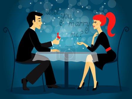 Illustration pour Veux-tu m'épouser, illustration vectorielle de la demande en mariage - image libre de droit