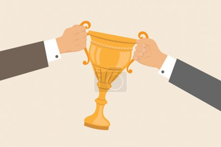 Business hands pulling cup