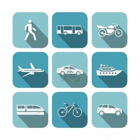 Illustration for Transportation icons set vector illustration - Royalty Free Image