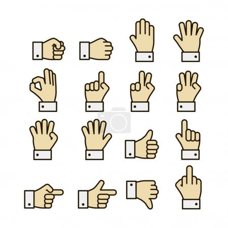 Illustration for Hand gestures icons set, contrast color design isolated vector illustration - Royalty Free Image
