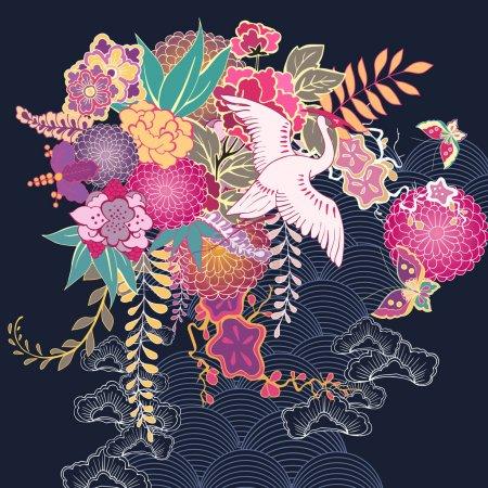 Illustration for Decorative kimono floral motif vector illustration - Royalty Free Image
