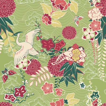 Illustration for Oriental silk pattern with crane and flowers vector illustration - Royalty Free Image