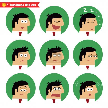 Illustration for Business facial emotions, isolated icons set vector illustration - Royalty Free Image