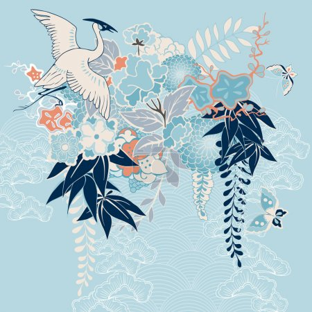 Illustration for Japanese kimono motif with crane and flowers vector illustration - Royalty Free Image