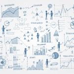 Set of doodle business management infographics ele...