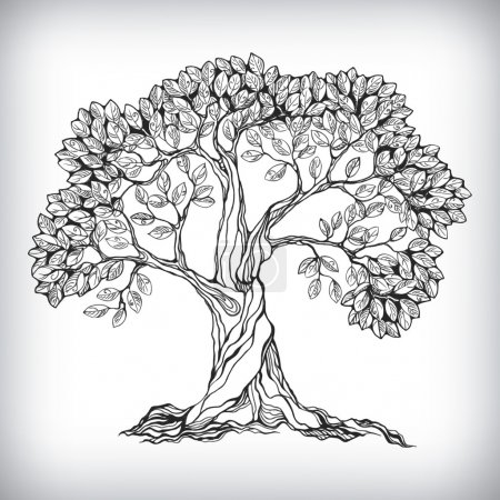 Illustration for Hand drawn tree symbol isolated vector illustration - Royalty Free Image