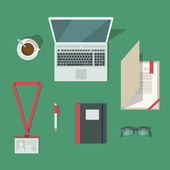 Top view on classic office workplace desk isolated vector illustration