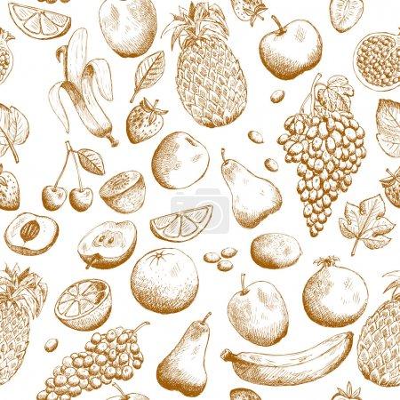 Illustration pour Illustration vectorielle de motif sans couture de fruits dessinés à la main - image libre de droit