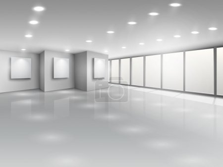 Illustration for Empty gallery interior with light windows vector illustration - Royalty Free Image