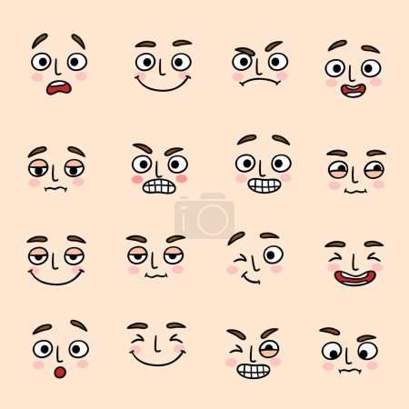 Illustration for Facial mood expression icons set of laugh fun and happiness isolated vector illustration - Royalty Free Image