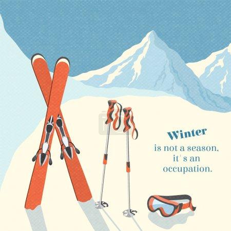 Ski winter mountain landscape background