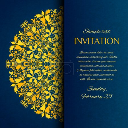 Illustration for Ornamental blue with gold embroidery invitation card template vector illustration - Royalty Free Image