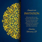 Ornamental blue with gold embroidery invitation card template vector illustration