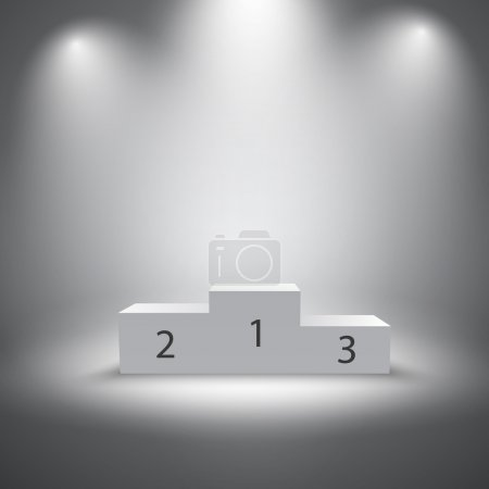 Illuminated business winners podium vector illustr...