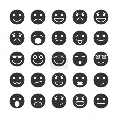 Illustration for Smiley faces icons set of emotions mood and expression isolated vector illustration - Royalty Free Image