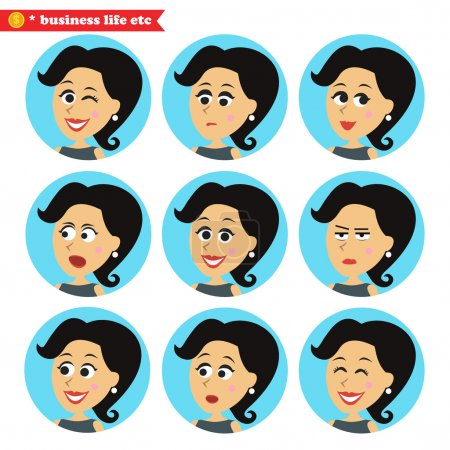 Illustration for Business women life. Facial emotions icons set vector illustration - Royalty Free Image