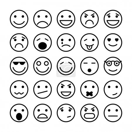 Illustration for Smiley faces elements for website design isolated vector illustration - Royalty Free Image