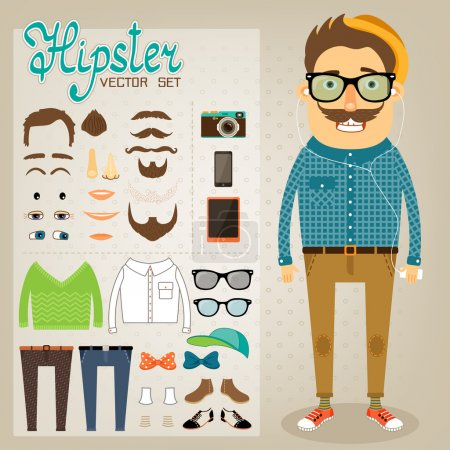 Illustration for Hipster character pack for geek boy with accessory clothing and facial elements vector illustration - Royalty Free Image
