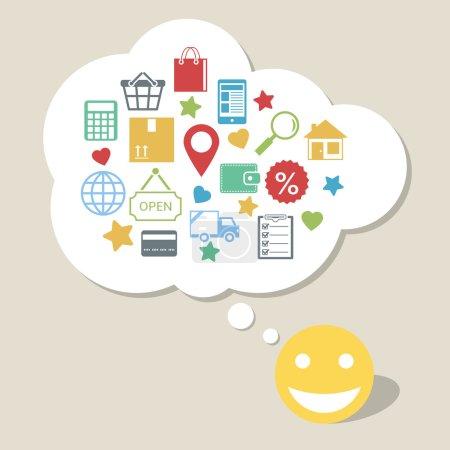 Achats en ligne avec heureux client satisfait