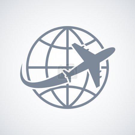 Illustration pour Icône de voyage Globe and plane illustration vectorielle isolée - image libre de droit