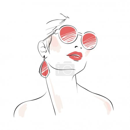 Expressive woman portrait with sunglasses