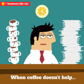 Business life Fatigued and exhausted executive late at work when coffee doesn't help vector illustration