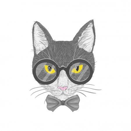 Illustration pour Chat hipster avec lunettes arc et yeux jaunes illustration vectorielle isolée - image libre de droit
