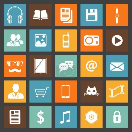 Flat media devices and services icons set