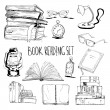 Books reading set with glasses lamp and clock vect...