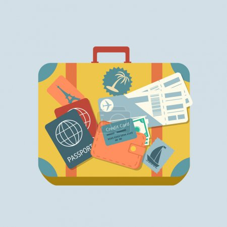 Illustration for Travel suitcase with stickers passport and plane tickets isolated vector illustration - Royalty Free Image