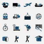 Logistic transportation service icons set of shipp...
