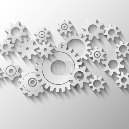 Illustration for Integrated cogs and gears emblem vector illustration - Royalty Free Image
